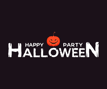 Happy Halloween logo. Vector lettering with decor element for print, banners or posters.