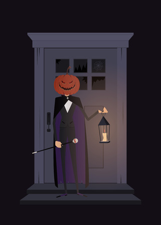 Happy Halloween. Character with a pumpkin head holding a lantern on the background of the door. Vector illustration for poster, background, or invitation. Illustration