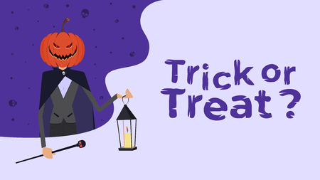 Happy Halloween. Trick or treat. Character with a pumpkin. Vector illustration for poster, background, or invitation.