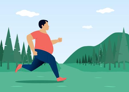 Running man. Man jogging outdoor. Vector illustration in flat style