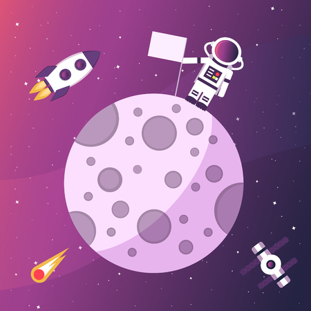 Astronaut with a flag on the moon. Open space. Vector illustration