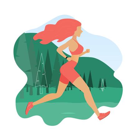 Running girl. Woman jogging outdoor. Vector illustration in flat style Illustration