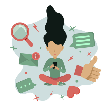 Social media concept illustration. Young woman with smartphone and social media icons. Vector illustration
