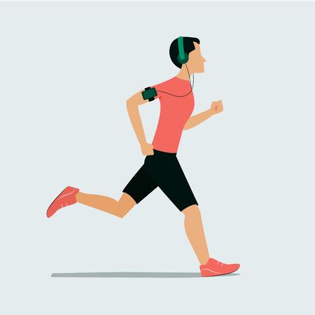 Running man. Vector illustration in flat style