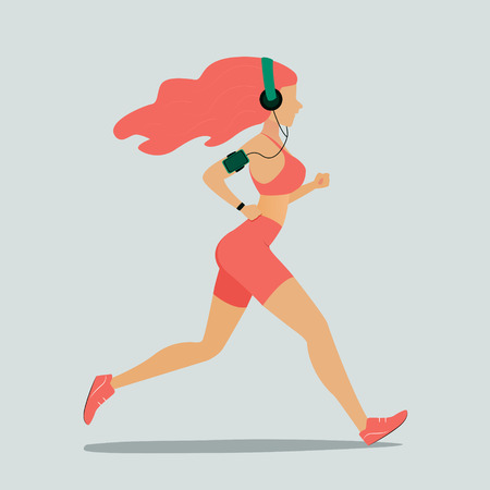 Running woman. Vector illustration in flat style