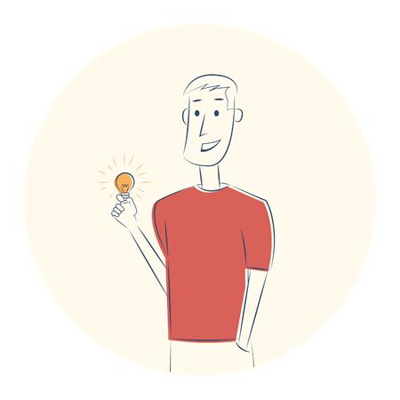 Man with lightbulb. Idea concept. Vector sketch illustration Illustration