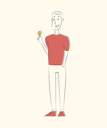Man with lightbulb. Idea concept. Vector sketch illustration Ilustrace