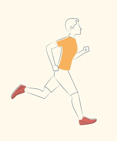 Running man. Man jogging outdoor. Vector sketch illustration