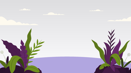 Background with fantasy leaves and plants flat style landscape vector illustration