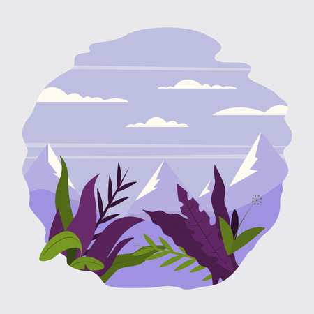Background with fantasy leaves and plants flat style template vector illustration