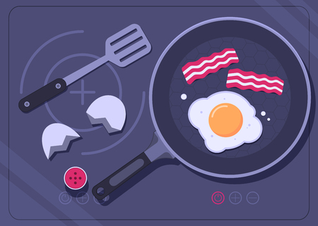 Frying pan with egg and bacon on a cooking stove. Breakfast concept. Vector illustration