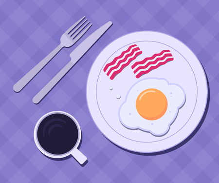 Plate with egg and bacon on a table. Breakfast concept. Vector illustration Illustration