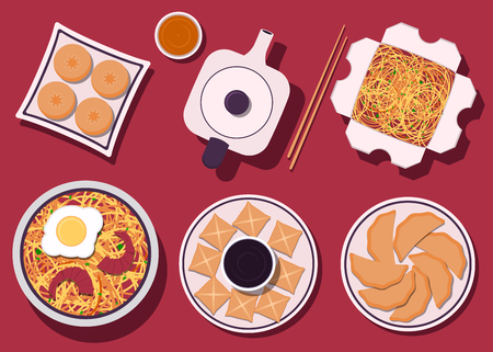 Set of Chinese food. Chinese cuisine dishes. Top view. Vector illustration in flat style