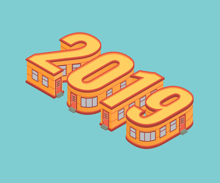 New year 2019 isometric concept. Four buildings in the form of the number 2019. Vector illustration