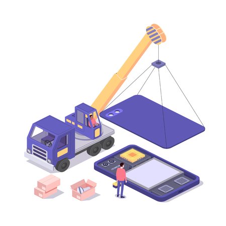 Mobile repair and service concept. Smartphone with repairman, spare parts and crane. Isometric composition. Illustration for web sites and print. Vector illustration