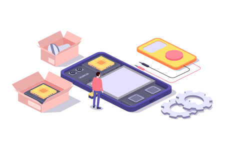 Mobile repair and service concept. Smartphone with repairman and spare parts. Isometric composition. Illustration for web sites and print. Vector illustration Stok Fotoğraf - 127716661