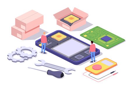 Mobile repair and service concept. Smartphone with repairmans and spare parts. Isometric composition. Illustration for web sites and print. Vector illustration Vectores