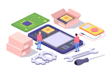 Mobile repair and service concept. Smartphone with repairmans and spare parts. Isometric composition. Illustration for web sites and print. Vector illustration Stok Fotoğraf - 127716667