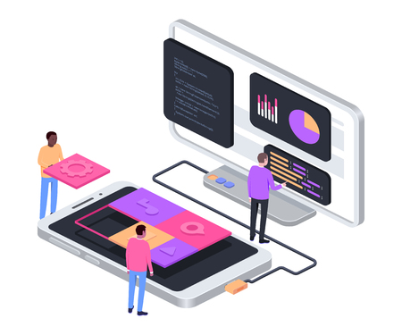 Developing mobile app concept. Isometric composition. Software developers. Vector illustration
