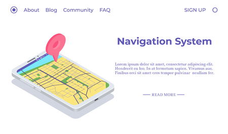 Mobile navigation app concept. Smartphone with mark on a map. Isometric composition. Vector illustration Vectores