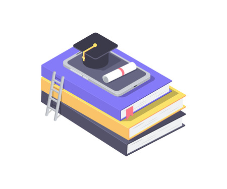 Online education concept. Square academic cap with diploma on a smartphone. Stack of books with ladder. Vector illustration Vectores