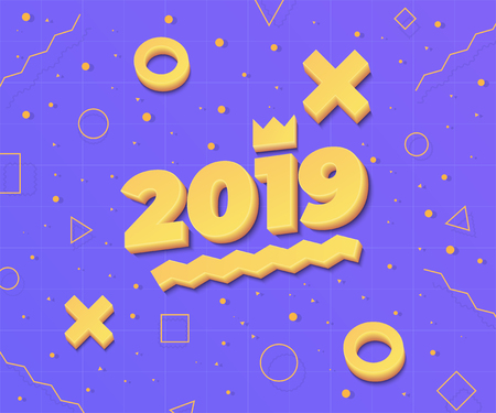 2019, Happy New Year. Greeting card with 2019 and geometric shapes in Memphis style. 3d letters and shapes. Holiday background, banner, poster. Vector Illustration