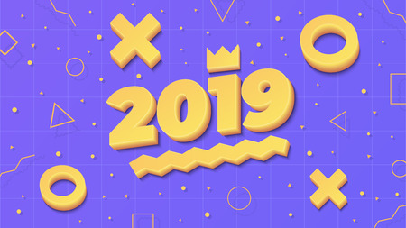 2019, Happy New Year. Greeting card with 2019 and geometric shapes in Memphis style. 3d letters and shapes. Holiday background, banner, poster. Vector Illustration Stok Fotoğraf - 127600610