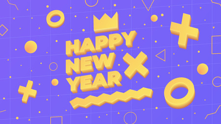 2019, Happy New Year. Greeting card with 2019 and geometric shapes in Memphis style. 3d letters and shapes. Holiday background, banner, poster. Vector Illustration Foto de archivo - 127600612
