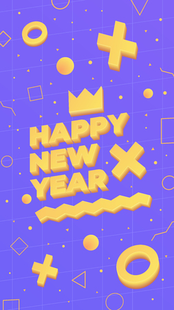 2019, Happy New Year. Greeting card with 2019 and geometric shapes in Memphis style. 3d letters and shapes. Holiday background, banner, poster. Vector Illustration Stok Fotoğraf - 127600614