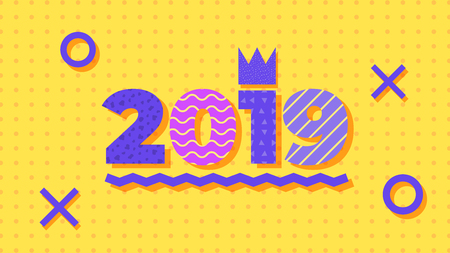 2019, Happy New Year. Greeting card with 2019 and geometric shapes in Memphis style. Holiday background, banner, poster. Vector Illustration Vectores