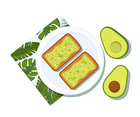 Avocado toast with half of a avocado on a plate. Breakfast and healthy lifestyle. Top view. Vector illustration Stok Fotoğraf - 127509573
