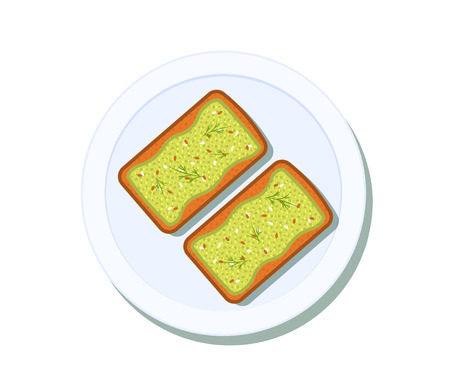Avocado toast on a plate. Breakfast and healthy lifestyle. Top view. Vector illustration Stok Fotoğraf - 127509574