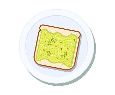 Avocado toast on a plate. Breakfast and healthy lifestyle. Top view. Vector illustration Stok Fotoğraf - 127509575