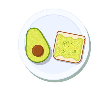 Avocado toast with half of a avocado on a plate. Breakfast and healthy lifestyle. Top view. Vector illustration Illustration