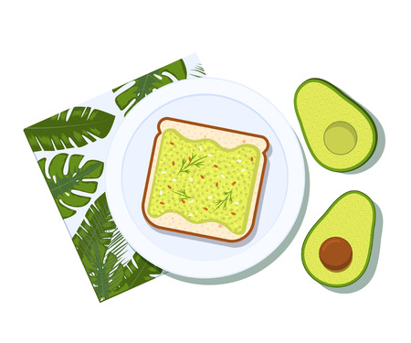 Avocado toast with half of a avocado on a plate. Breakfast and healthy lifestyle. Top view. Vector illustration Çizim