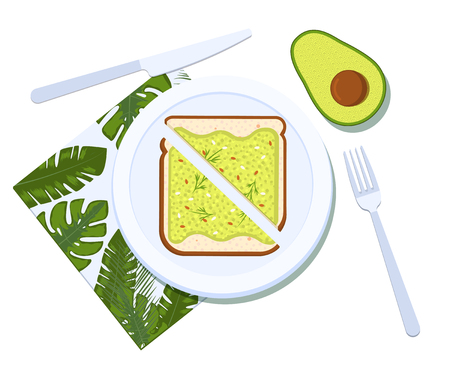 Avocado toast with half of a avocado on a plate. Breakfast and healthy lifestyle. Top view. Vector illustration Stok Fotoğraf - 127509577
