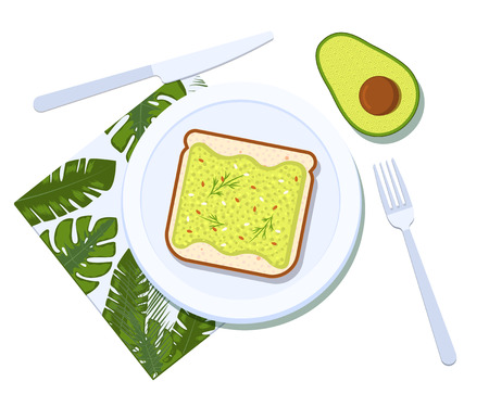 Avocado toast with half of a avocado on a plate. Breakfast and healthy lifestyle. Top view. Vector illustration Ilustração