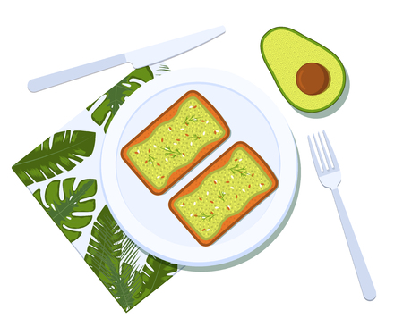 Avocado toast with half of a avocado on a plate. Breakfast and healthy lifestyle. Top view. Vector illustration Foto de archivo - 127509578