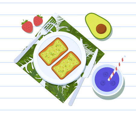 Avocado toasts on a plate with half of a avocado, two strawberries and blueberry smoothie. Breakfast and healthy lifestyle. Top view. Vector illustration Çizim