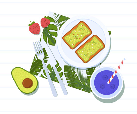 Avocado toasts on a plate with half of a avocado, two strawberries and blueberry smoothie. Breakfast and healthy lifestyle. Top view. Vector illustration Stok Fotoğraf - 127474358