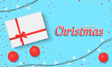 Christmas banner with gift box and sparkling lights garland. Christmas banner, cards, or website template. Stok Fotoğraf - 127259906