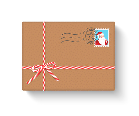 Mail gift box with stamp and mark on white background. Merry Christmas and Happy New Year. Vector illustration