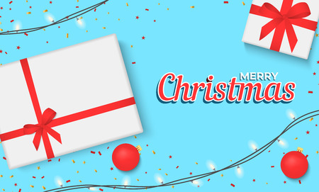 Christmas banner with gift box and sparkling lights garland. Christmas banner, cards, or website template.