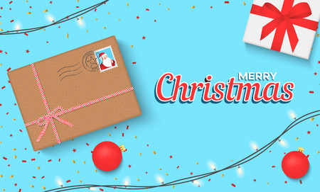 Christmas banner with gift box and sparkling lights garland. Christmas banner, cards, or website template. Foto de archivo - 127259909