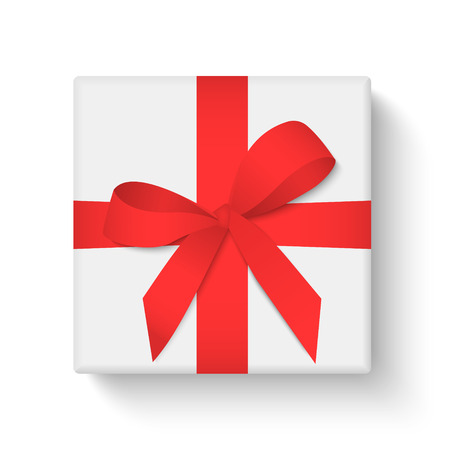 White gift box with red ribbon and bow on white background. Merry Christmas and Happy New Year. Vector illustration Foto de archivo - 127259911