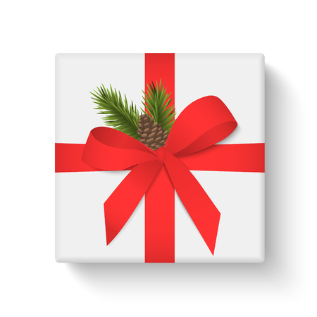 White gift box with red ribbon and bow on white background. Merry Christmas and Happy New Year. Vector illustration Stok Fotoğraf - 127259913