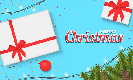 Christmas banner with gift box and sparkling lights garland. Christmas banner, cards, or website template. Stok Fotoğraf - 127259914