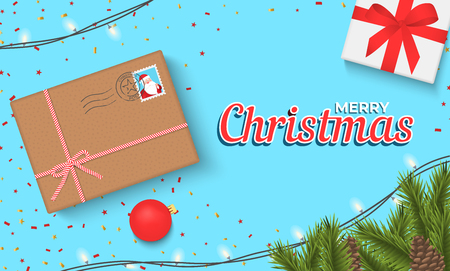 Christmas banner with gift box and sparkling lights garland. Christmas banner, cards, or website template. Stok Fotoğraf - 127259915