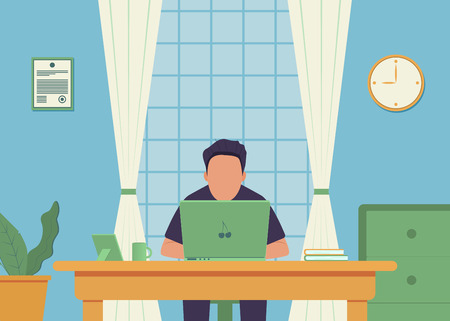 Work place. Office interior. Office work. Man is working at his laptop. Vector illustration Ilustrace