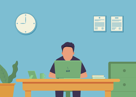 Work place. Office interior. Office work. Man is working at his laptop. Vector illustration Çizim